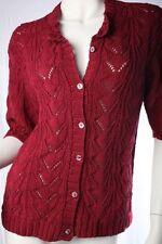 Damen-Strickjacken mit Stehkragen aus Baumwolle ohne Muster