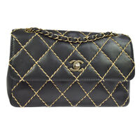 Auth CHANEL Wild-Stitch CC Double Chain Shoulder Bag Black Leather GHW AK34174h