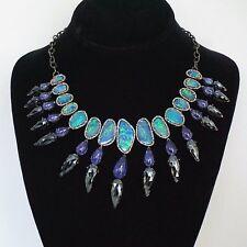 14k Yellow Gold Opal Tanzanite Charm Pendant Necklace Diamond Pave Silver