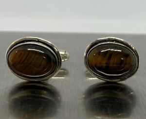 Tigers Eye Silver Plated Bronze Natural Oval Stone Cufflinks Handmade India