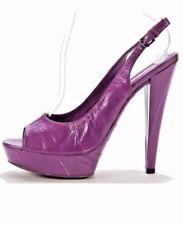 NEW YVES SAINT LAURENT Purple Eel Skin Open Toe Slingback Platform Heel Sz 38.5