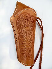 "Cross Draw Western Holster- DeLuxe -Right - 6"" Barrel - Natural - Tooled Leather"