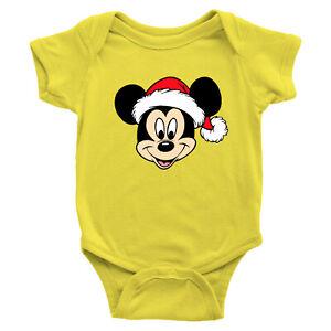 Infant Baby Rib Bodysuit Romper Gift Mickey Santa Hat Christmas Holiday Fun