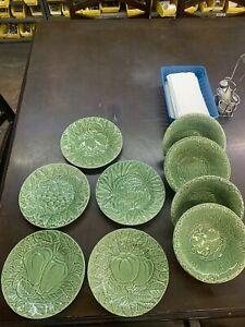 Lot Of 9 Bordallo Pinheiro Portugal Majolica green plates & Bowls Asst Fruit