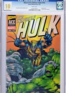 Wizard Ace Edition Incredible Hulk #181 CGC 10.0 Gem Mint Acetate Cover!