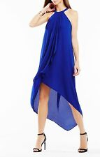 NEW BCBG ROYAL BLUE LANNA HIGH-LOW DRAPED RUFFLE DRESS WQR60I03/L411W SIZE S