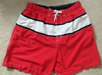 Sharp Looking Men's L Meshed Line Swim Trunk, Colors: Red, Blue and White