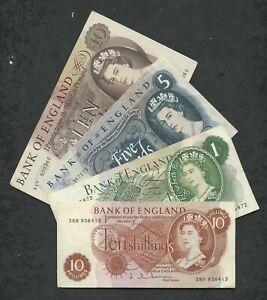 BANK OF ENGLAND Hollom 1963-67 TYPE SET QEII  £10 £5 £1 10s Banknotes