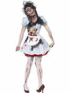 Zombie Dorothy Halloween Horror Womens Fancy Dress Costume Fairytale Outfit