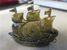 Tape Measure-Vintage Metal Sailing Ship-Greenish Enamel-Germany = 193m