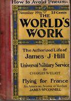 1916 World's Work November - Aviation issue; Teddy Roosevelt; James J Hill;