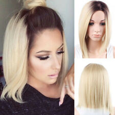 Synthetic Short Straight Ombre Blonde Bob Hair Side Part Wigs for Fashion Women