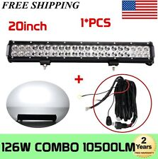 "20""INCH 126W COMBO LED WORK LIGHT BAR DRIVING OFFROAD BOAT with Wiring Kit 100W"