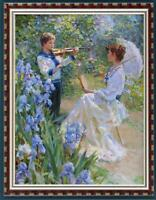 "Hand painted Original Oil Painting art garden violin boy girl on canvas 24""X36"""