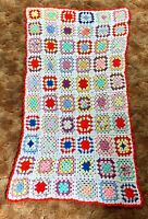 "Vtg Handmade Crochet Granny Square Afghan Blanket Throw White Pastel 40"" X 70"""