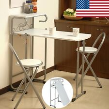 3Pcs Steel Folding Dining Room Table + 2 Chairs Set Stool Kitchen Furniture