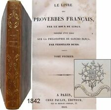 Book of french proverbs 1842 le roux de lincy t.1 sancho pança bookplate