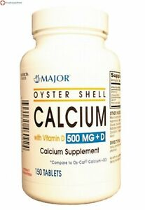 Major Pharma Oyster Shell Calcium, with Vitamin D, 500 mg,150 ct