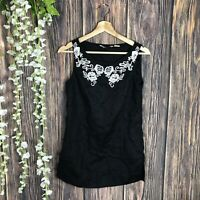 100% Linen Tank Top Women's Black White Floral Embroidered Casual Summer
