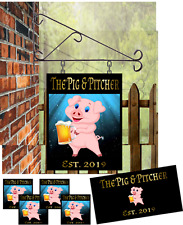 Personalised ex Large Hanging Pub sign 3 mats 20 coasters and mirror pack