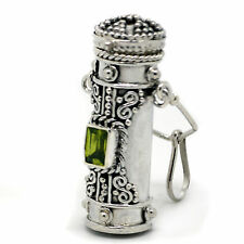 Tall Sterling Silver Peridot Poison Bottle Pillbox Urn Pendant