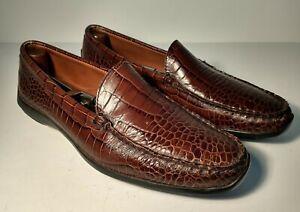 """ALLEN EDMONDS """"Tampa"""" Slip On Shoe Loafer 9.5 D Alligator Croc Embossed Leather"""