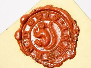 2 x 16thC  SQUIRREL - I CRACK NUTIS Wax Seal Impressions on Card #ES3