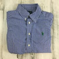 HOLE Ralph Lauren Polo Boys Cotton Button Down Dress Shirt Blue Gingham Sz S 8