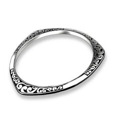 Retro Women 925 Silver Plated Carving Bangle Bracelet Fashion Wedding Jewelry