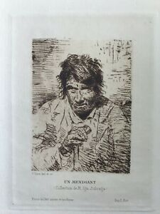 """UN MENDIANT"" Francisco GOYA, (Attributed to). ""A beggar"", Original etching,1901"