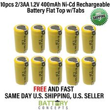 10 pcs 2/3AA 2/3 AA 400mAh Ni-Cd 1.2V Rechargeable Battery w/TABS Cell US Stock