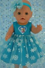 "Play n Wear Doll Clothes For 17"" Baby Born TURQUOISE SNOWFAKE DRESS~HEADBAND"