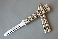 Practice BALISONG METAL BUTTERFLY Steel Trainer Dull Knife C34 #Gold