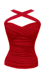 CRISS-CROSS Halter top PINUP Ruched Vintage Retro 50's convertible straps