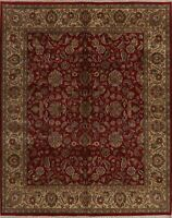 All-Over Floral Assorted Red/Beige Agra Oriental Area Rug Wool Hand-Knotted 8x10