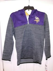 New NWT NFL Minnesota Vikings Football Team Logo Hooded Sweatshirt Youth Large