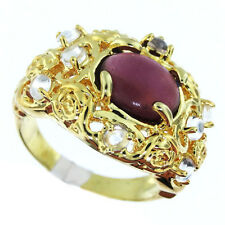 Ladies Oval Purple Stone with Clear Drops Gold EP Ring Size 9