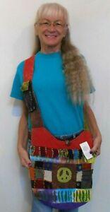 RISING INTERNATIONAL Handmade HOBO BAG Multi Color PEACE SIGN Tie Dye FRINGE