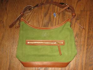 Dooney & Bourke womens medium handbag purse suede leather green shoulder bag