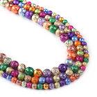 "Multicolor Lava Beads 6 8 10mm Volcanic Stone Round Beads 15"" Full Strand 103040"
