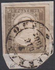 SARDEGNA - 1861 Terranova, 6 punti, annullo su frammento con 10 C. grigio 4/162