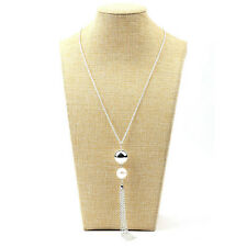 Fashion Women's Pearl Charm Long Chain Sweater Chain Tassel Necklace