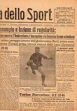 LA GAZZETTA DELLO SPORT DEL LUNEDI'  22 FEBBRAIO  1943    NR 45