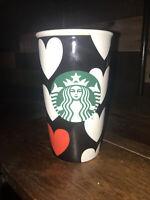 Starbucks White Hearts Black Ceramic Traveler Tumbler Mug 12 oz.