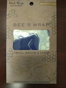 Bee's Wrap Food Wraps Reusable 3 Pack Assorted- 1 small 1 medium 1 large Vermont