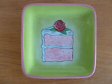 """Cake Plate w/ Rose on Top   by Jennifer Clarke  for  CI    8 5/8"""" Square"""
