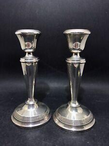 2 Vtg Sterling Silver Candlesticks 16.5 Cm – J Gloster Birmingham 1975 (Y2 387)