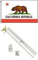 3x5 State of California Flag White Pole Kit Set 3'x5'