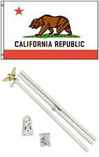 2x3 2'x3' State of California Flag White Pole Kit Set