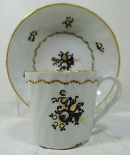 #vtt10 ANTIQUE 19TH C SOFT PASTE CUP AND SAUCER hand painted European c. 1840s